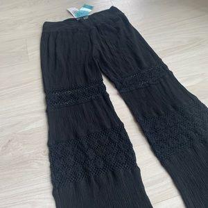 Pants - Crochet black swim cover up pants size large